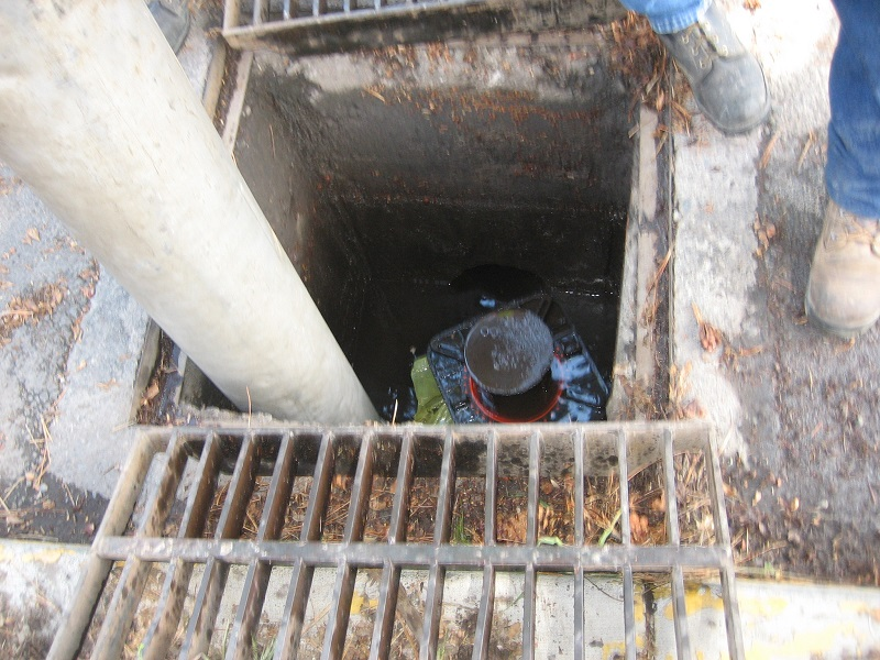 Drill hole in catch basin